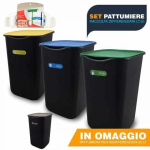 BuyStar Set 3 Pattumiere Chiuse per Raccolta Differenziata, 50 Lt